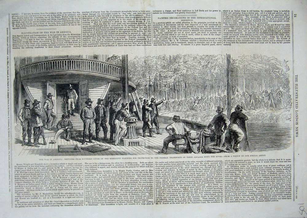 [Print 1862 War America Refugees Mississippi Federal Transport 105N714 Old Original]