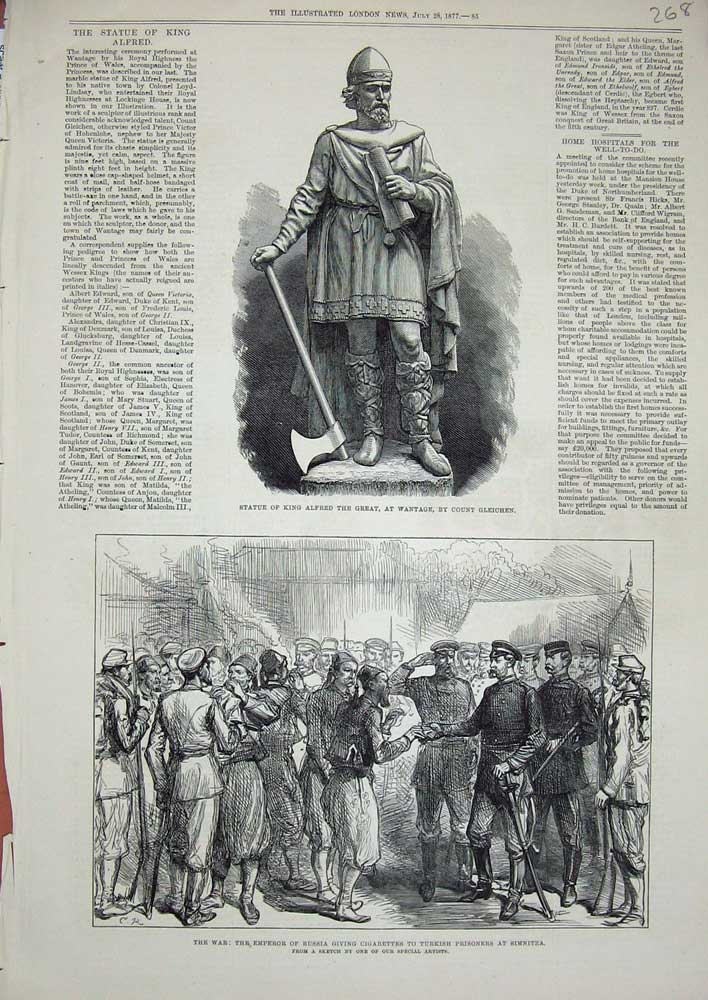 [Print 1877 Statue King Alfred Wantage War Emperor Russia Army 268N714 Old Original]
