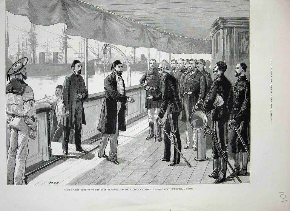 [Print 1882 Khedive Duke Connaught H.M.S Helicon Ship War Army 101N715 Old Original]