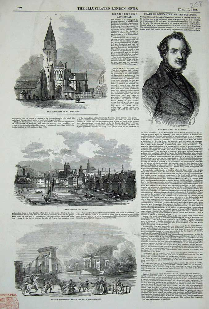 Print 1848 Prague Cathedral Brandenburg Schwanthaler Sculptor 258N716 Old Original