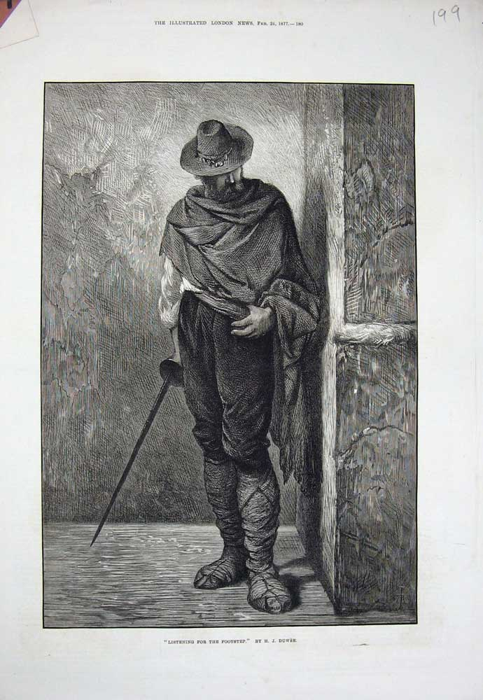 Print 1877 Man Cape Hat Sword Cloth Boots Duwee Fine Art 199N717 Old Original