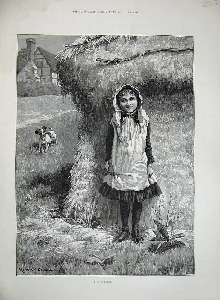 [Print 1884 Dollman Fine Art Little Girl Farm Dog Haystack 207N718 Old Original]