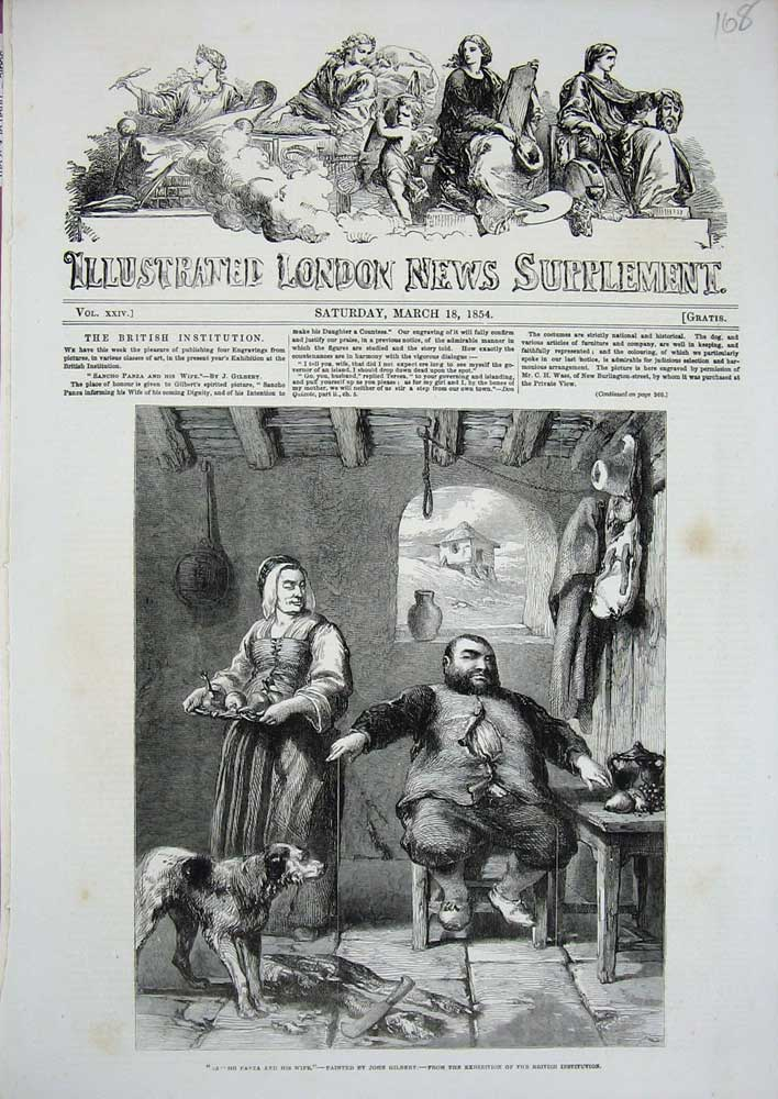 [Print 1854 Sancho Panza Wife Woman Man Dog John Gilbert Art 168N719 Old Original]