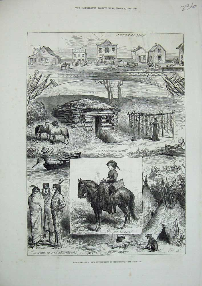 [Print 1880 Minnesota Frontier Town Home Horses America Dog 236N719 Old Original]