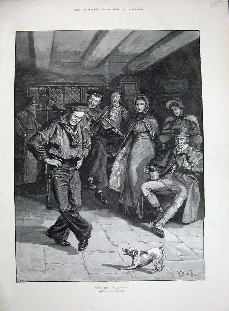[Print 1891 Sailor Dancing Music Dog Violin Wollen Fine Art 289N719 Old Original]