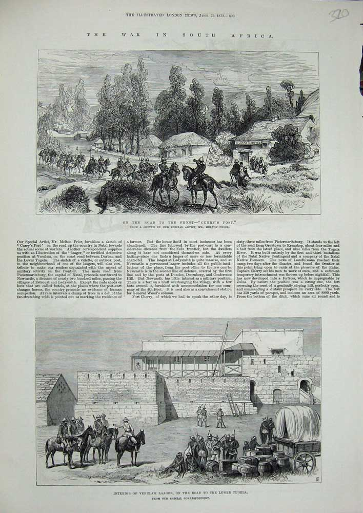 [Print 1879 War South Africa Curry'S Post Verulam Laager Army 320N719 Old Original]