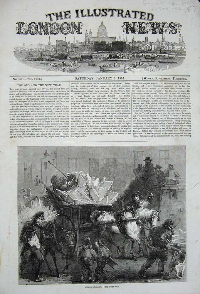 [Print 1857 London Ice Carts Horses Winter Children Dog Men 157N720 Old Original]