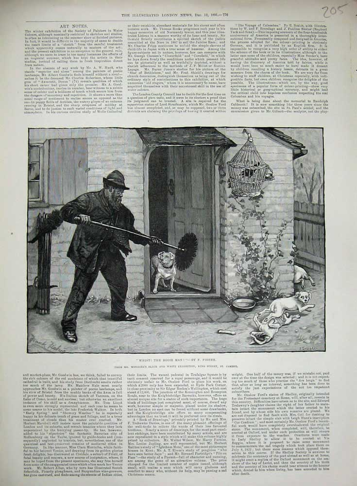 [Print Fisher 1891 Chimney Sweep Man Chasing Dogs House 205N720 Old Original]