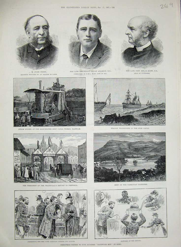 [Print 1887 Ferry Adamson Scott Suez Canal Eastham Soho War 249N720 Old Original]