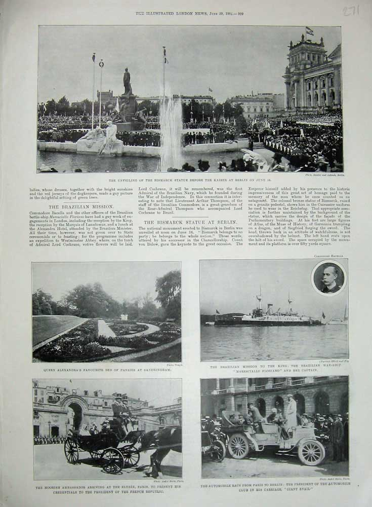 [Print 1901 Bismarck Statue Brazillian War Ship Paris Motor 271N720 Old Original]