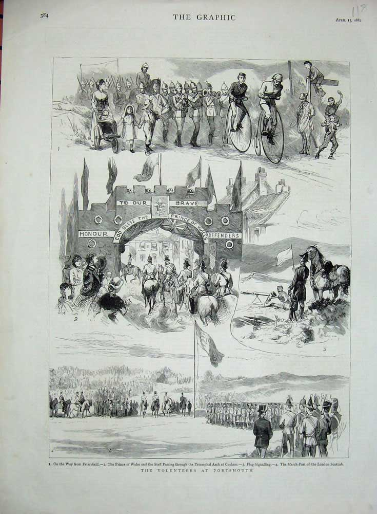 [Print 1882 Ta Volunteer Army Soldiers Portsmouth War 118N725 Old Original]