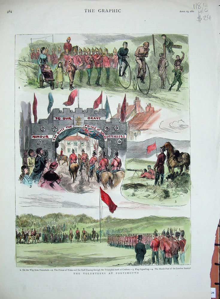[Print 1882 Ta Volunteer Army Soldiers Portsmouth War Colour 118An725 Old Original]