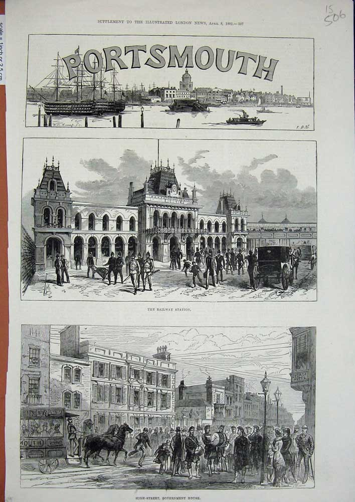 [Print *3516 1882 Portsmouth Railway Station Government House 506N725 Old Original]