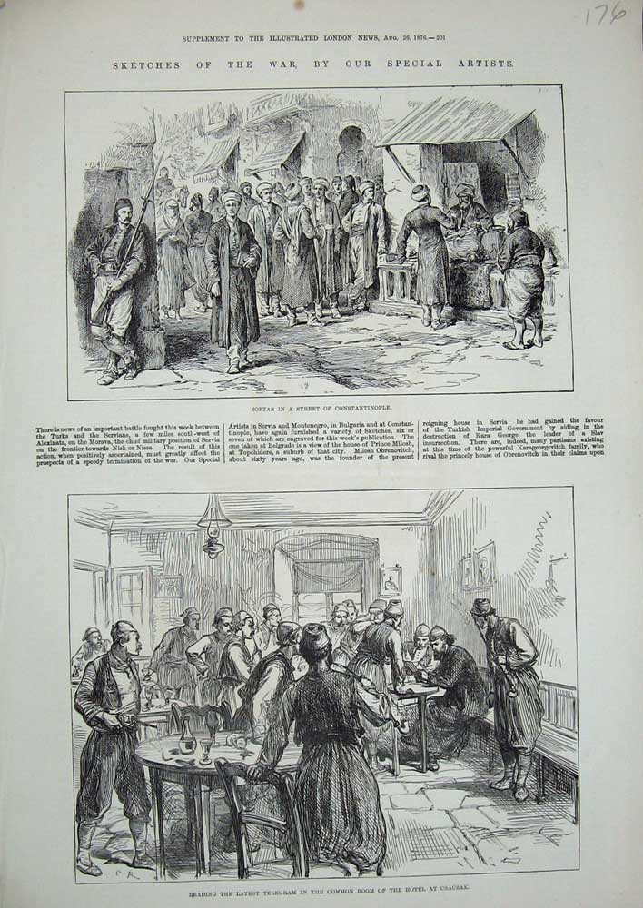 [Print War 1876 Softas Constantinople Telegram Hotel Csacsak 176N726 Old Original]