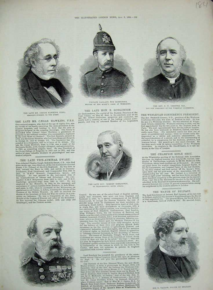 [Print 1884 Admiral Ewart Mayor Belfast Godlonton Gallant War 184N726 Old Original]