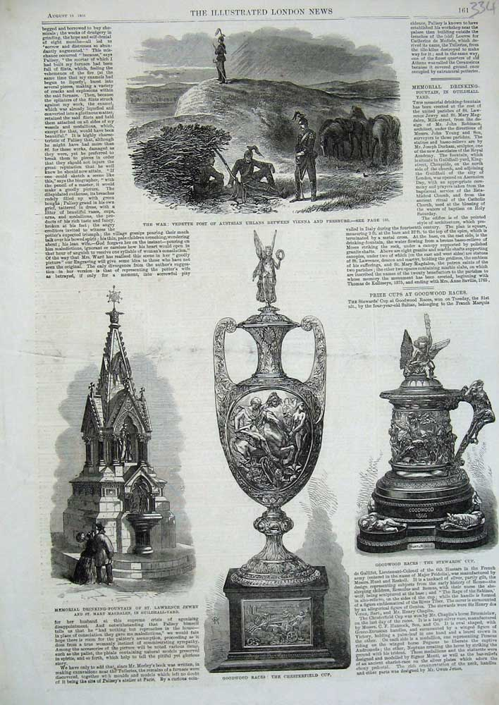 [Print War 1866 Vedette Austrian Uhlans Fountain Goodwood Cup 334N726 Old Original]