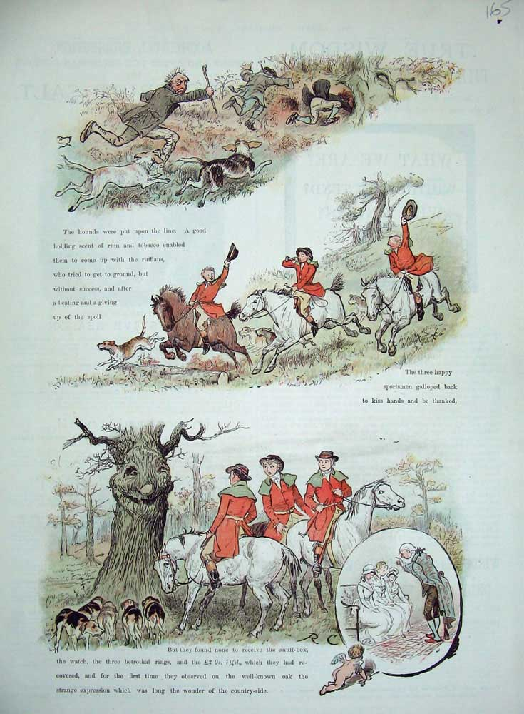 [Print 1884 Fox Hunting Sport Men Horses Hounds Dogs Country 165N728 Old Original]