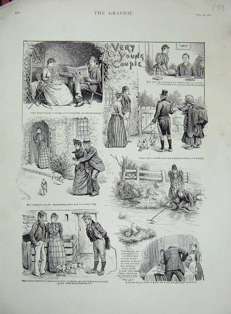 [Print 1891 Romnance Man Woman Country Stream Dogs Ducks Pig 139N729 Old Original]
