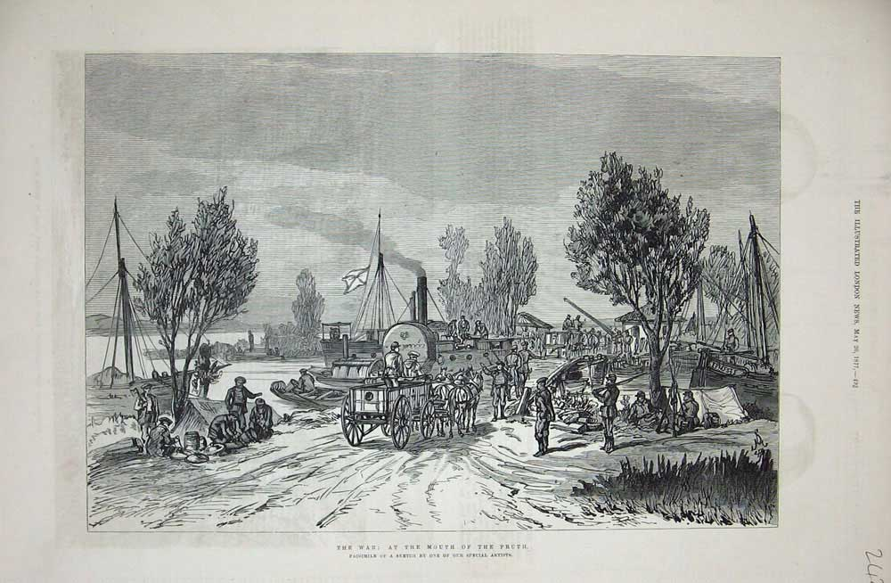 [Print 1877 War Mouth River Pruth Boats Horse Cart Trees 242N732 Old Original]