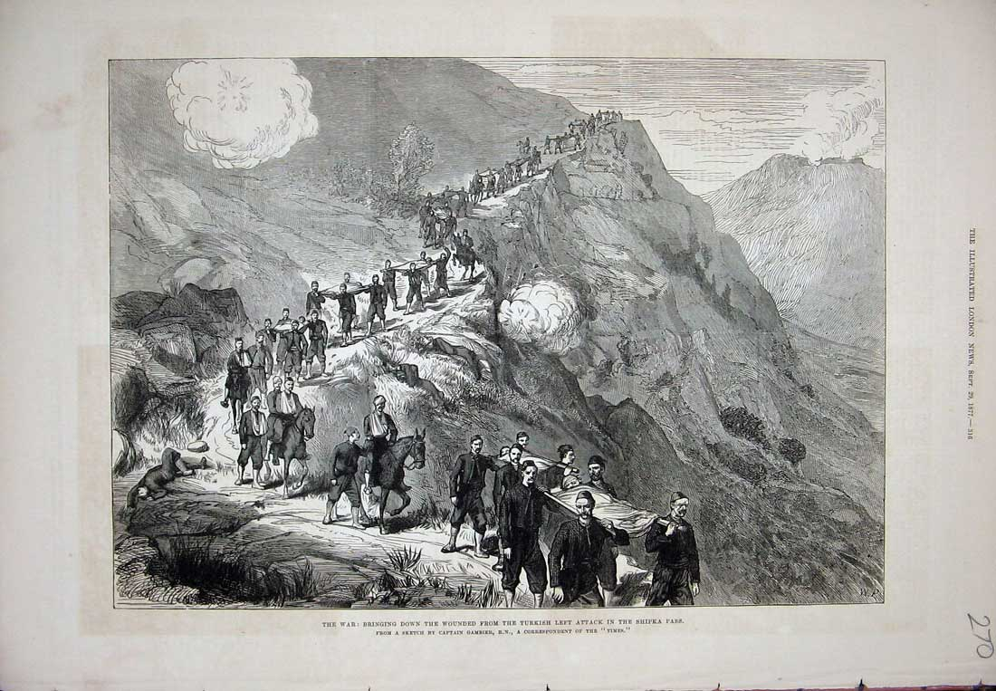 [Print 1877 War Wounded Turkish Soldiers Shipka Pass Mountains 270N733 Old Original]