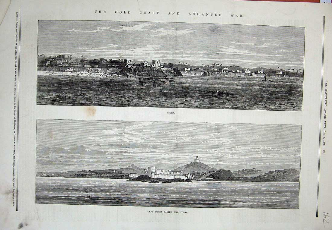 [Print 1873 View GCoast Ashantee War Accra Castle Forts 162N734 Old Original]