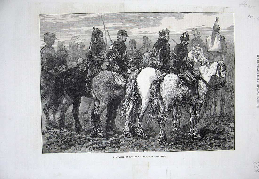 [Print 1871 Squadron Cavalry General Chanzy Soldiers Army War 228N734 Old Original]