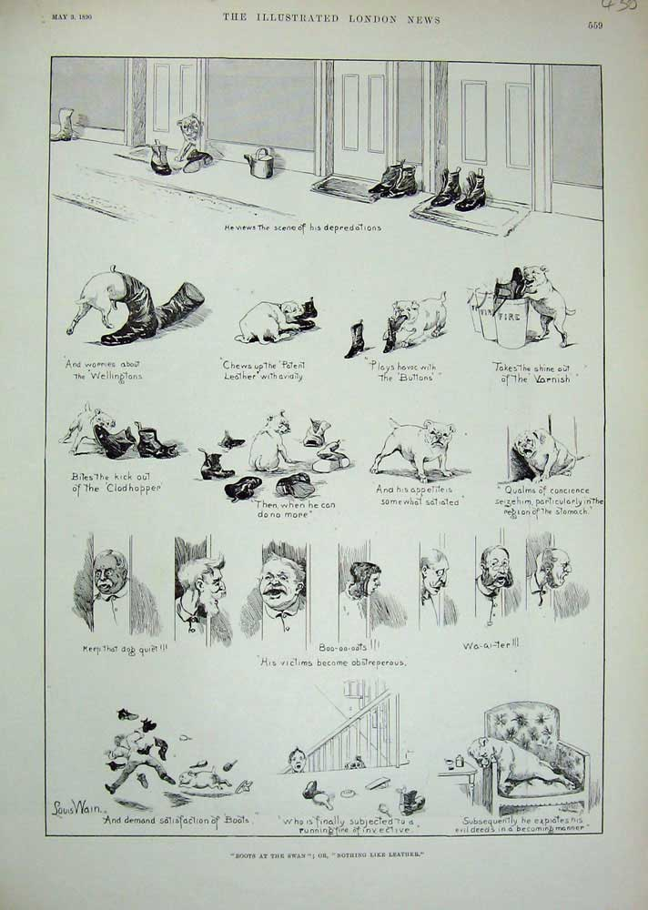 [Print 1890 Louis Wain Dogs Shoes Man Comedy Sketches 430N737 Old Original]