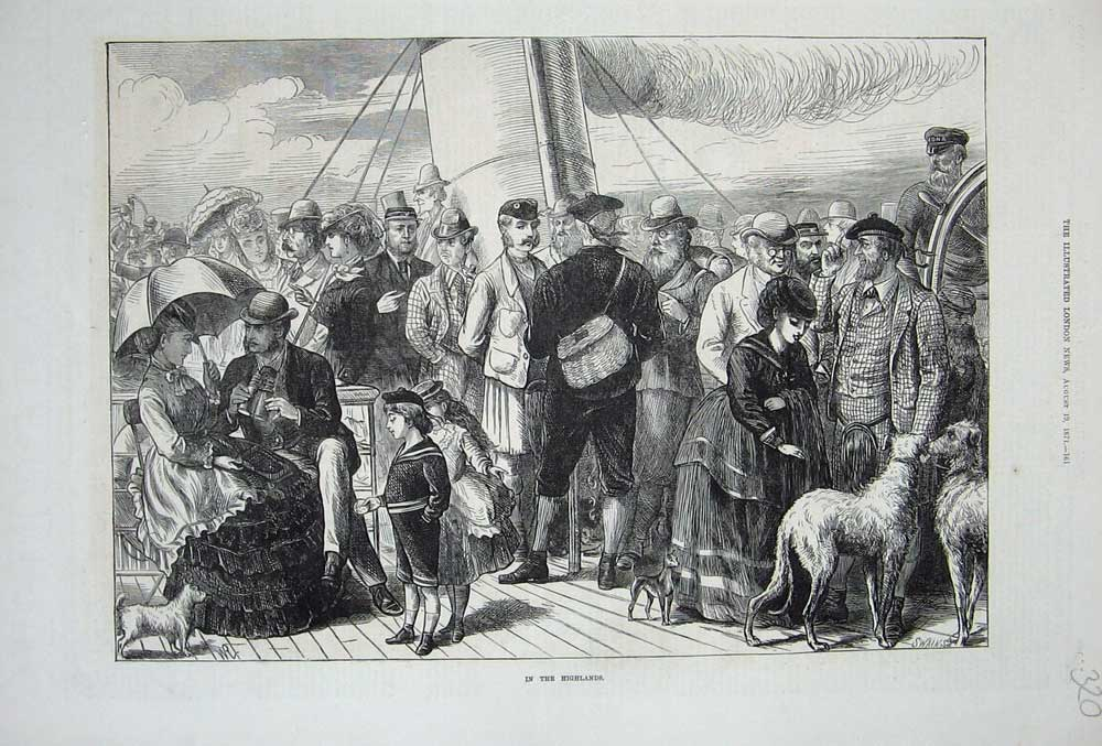 [Print Highlands Scotland Ship Ferry Boat 1871 Dogs People 320N738 Old Original]