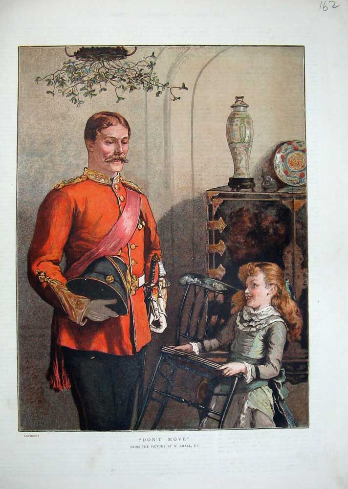 Print 1884 Colour Soldier Man Little Girl Chair Small 162N740 Old Original