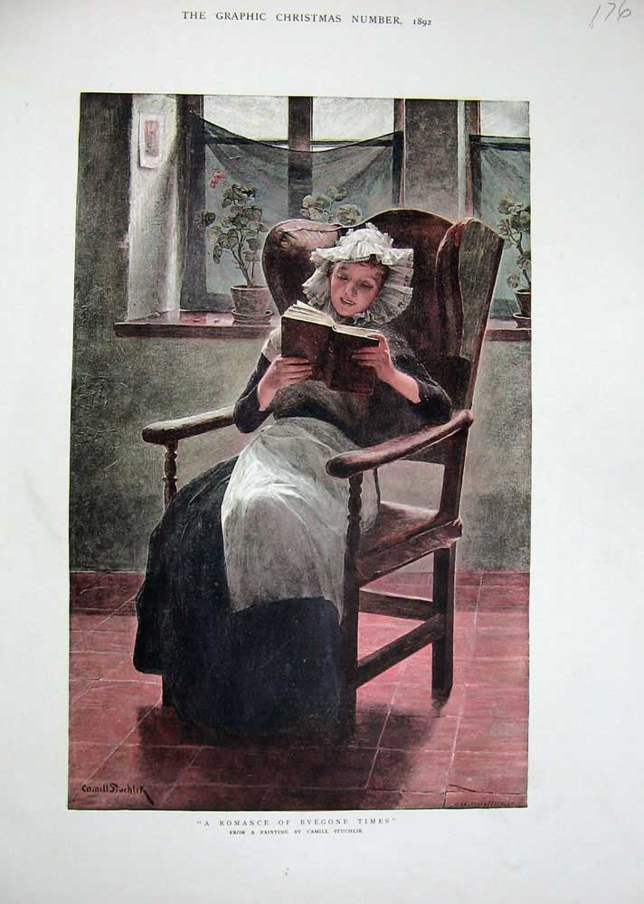 Print 1892 Colour Lady Reading Book Chair Stuchlik 176N740 Old Original