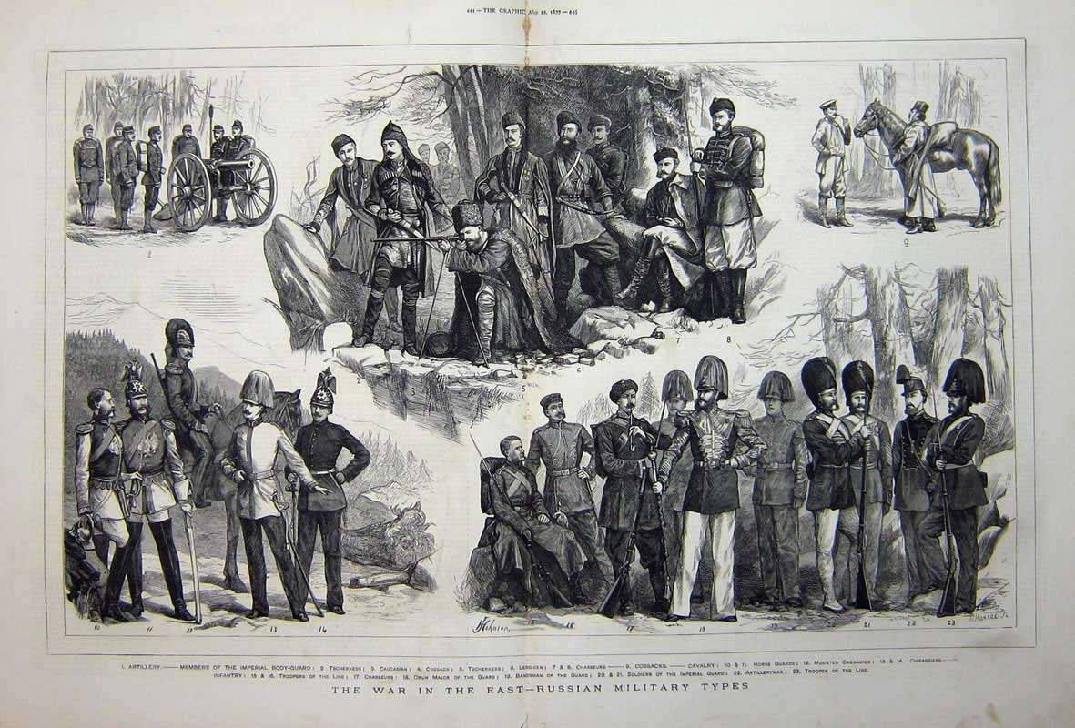 [Print 1877 War Russian Soldiers Cossacks Horse Guards Cavalry 512Tn742 Old Original]