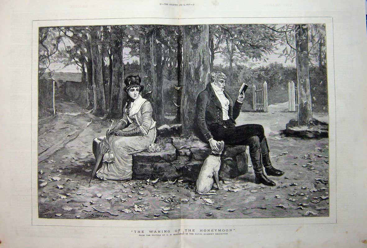 [Print 1878 Boughton Fine Art Man Woman Book Tree Dog Country 521Tn742 Old Original]