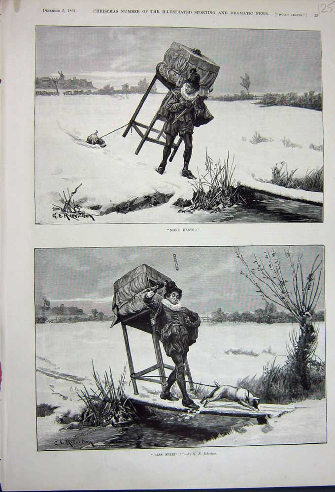 [Print 1891 Man Costume Dog Snow Stream Bridge Winter 125N743 Old Original]
