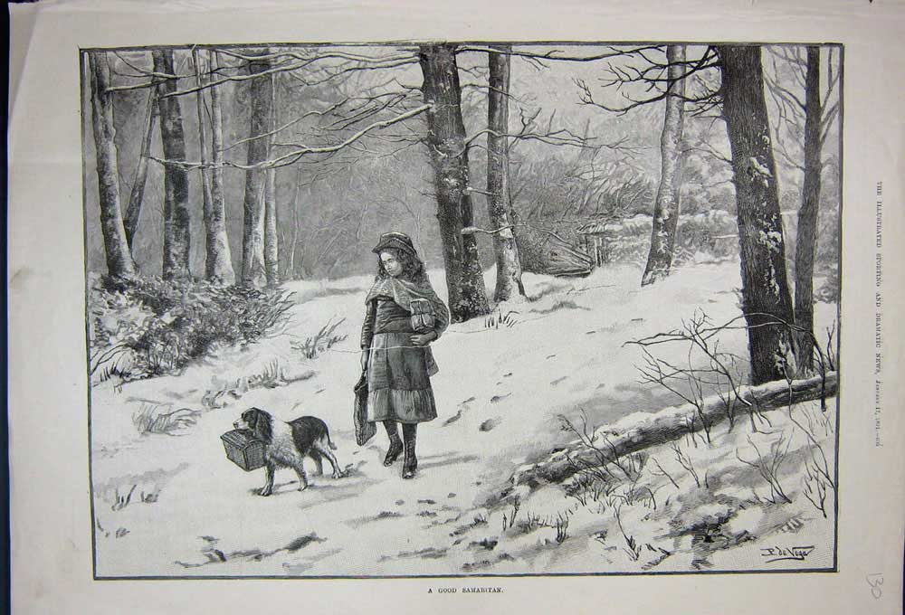 [Print 1891 Young Girl Puppy Dog Snow Trees Winter Country 130N743 Old Original]