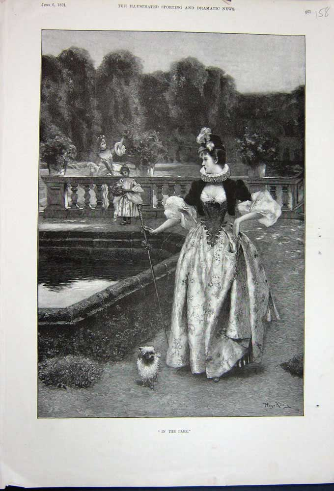[Print 1891 Beautiful Lady Garden Pond Puppy Dog Children Tree 158N743 Old Original]