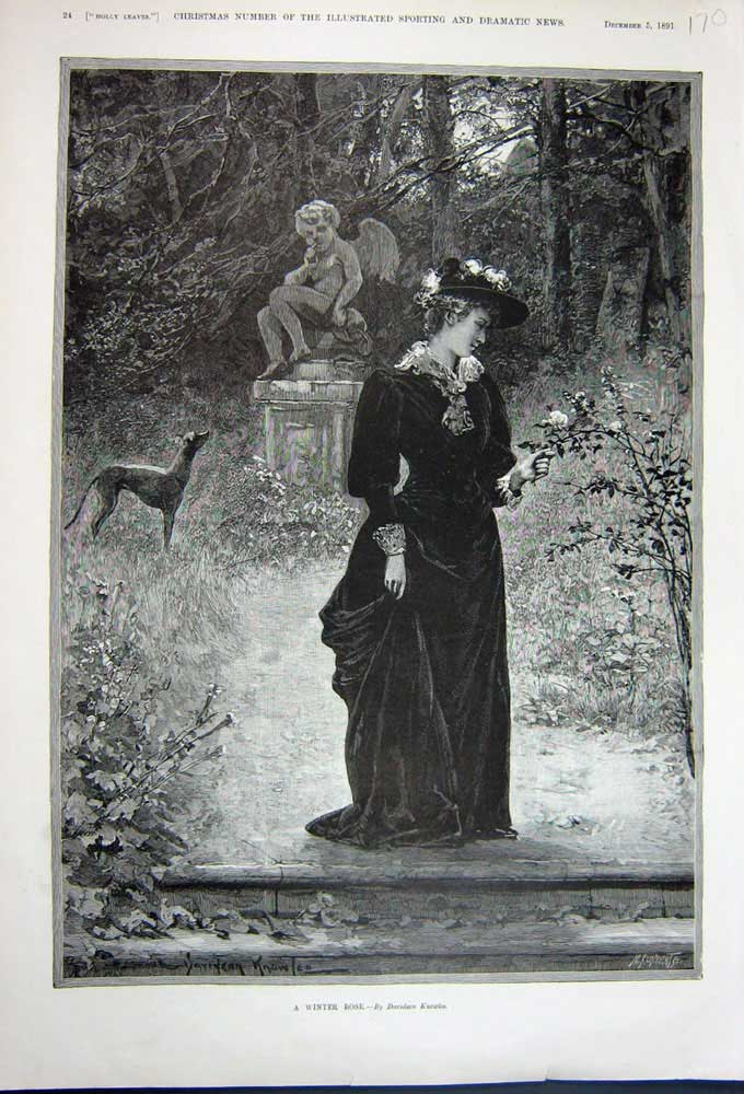 [Print 1891 Knowles Fine Art Beautiful Lady Flowers Trees Dog 170N743 Old Original]