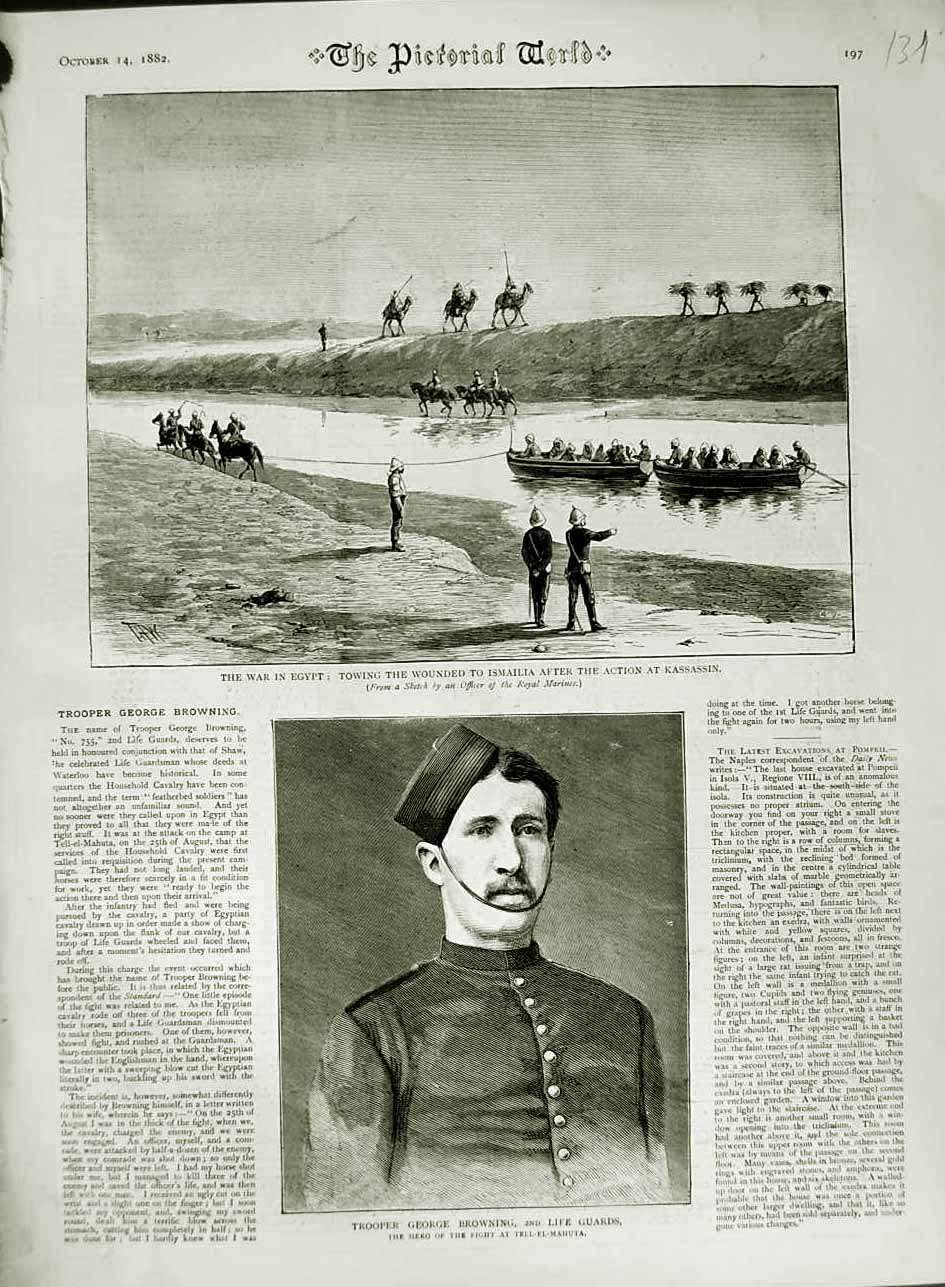 [Print 1882 Trooper George Browning War Egypt Kassassin Boats 131N749 Old Original]