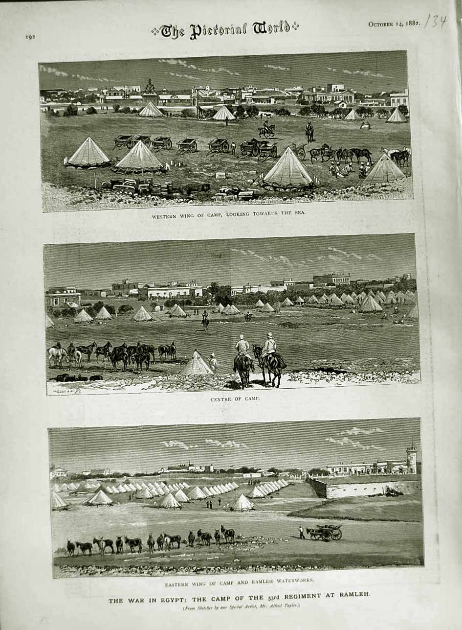 [Print 1882 War Egypt Camp Ramleh Waterworks 53Rd Soldiers 134N749 Old Original]