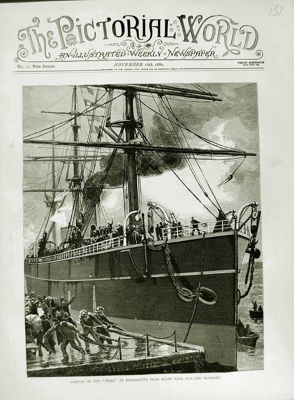 [Print 1882 Italy Ship Portsmouth Sick Wounded Soldiers War 151N749 Old Original]