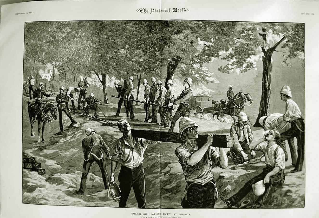 [Print 1882 Soldiers Guards Fatigue Duty Ismailia War Weapons 390Tn749 Old Original]