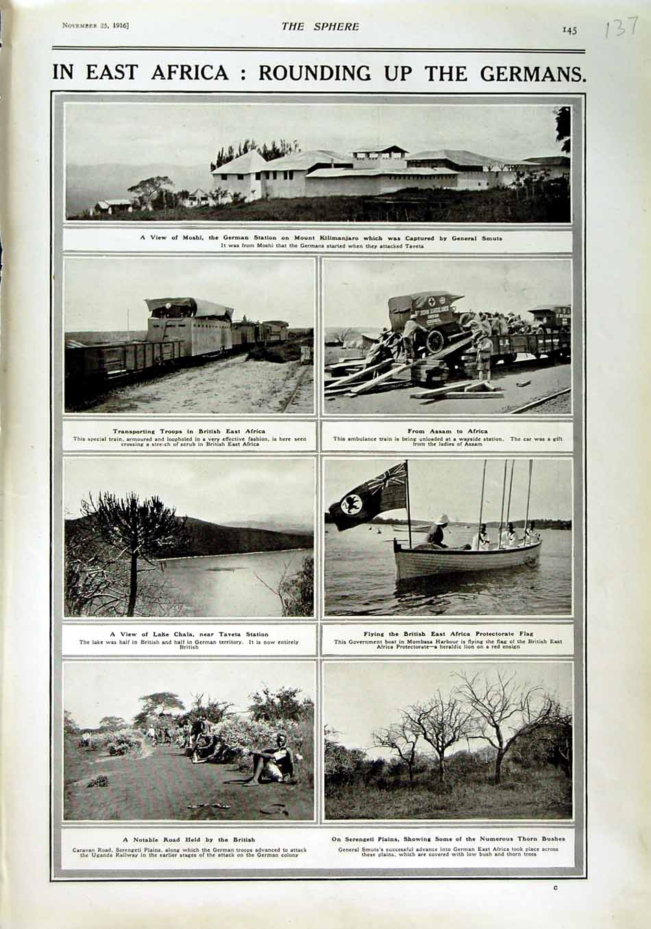 Print 1916 Africa Moshi Mount Kilimanjaro Train War Chala 137N801 Old Original