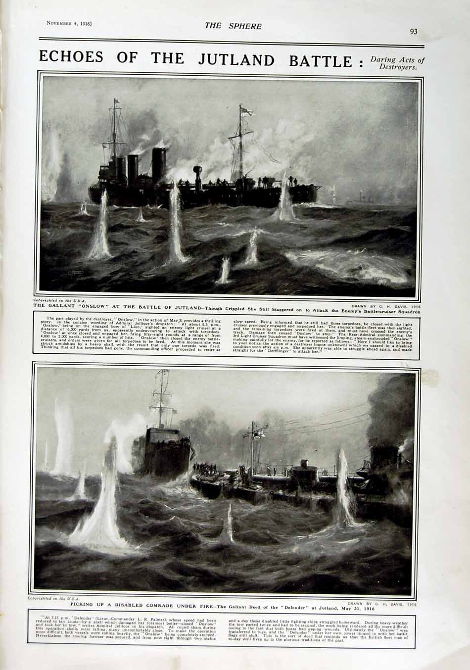 [Print 1916 Roll Honour Dead Soldiers War Onslow Ship Jutland 180Rn801 Old Original]
