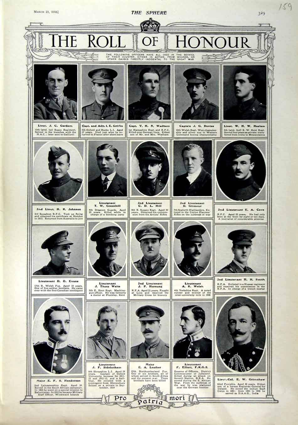 [Print 1916 Roll Honour Dead Soldiers War Wadham Hill Welsh 159N802 Old Original]