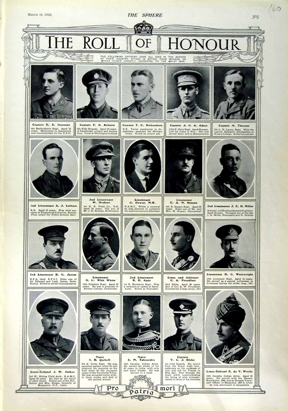 [Print 1916 Roll Honour Dead Soldiers War Richardson Roberts 160N802 Old Original]