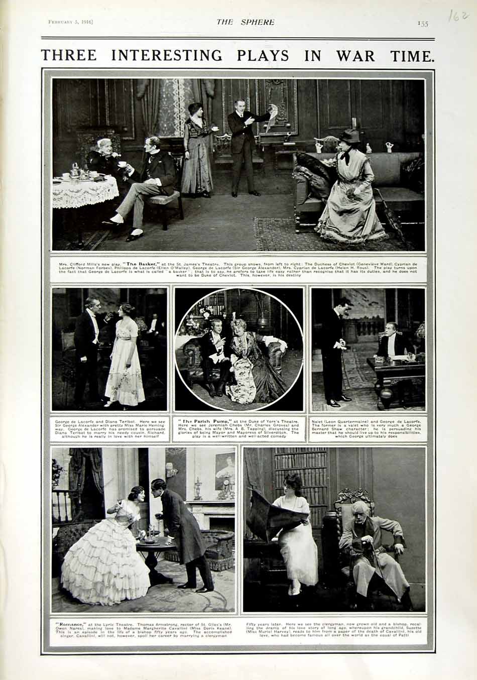 [Print 1916 Theatre War Lyric Basket Parish Pump Cheviot 162N802 Old Original]