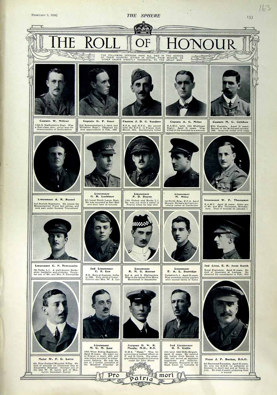 [Print 1916 Roll Honour Dead War Soldiers Moody Becher Lee 163N802 Old Original]
