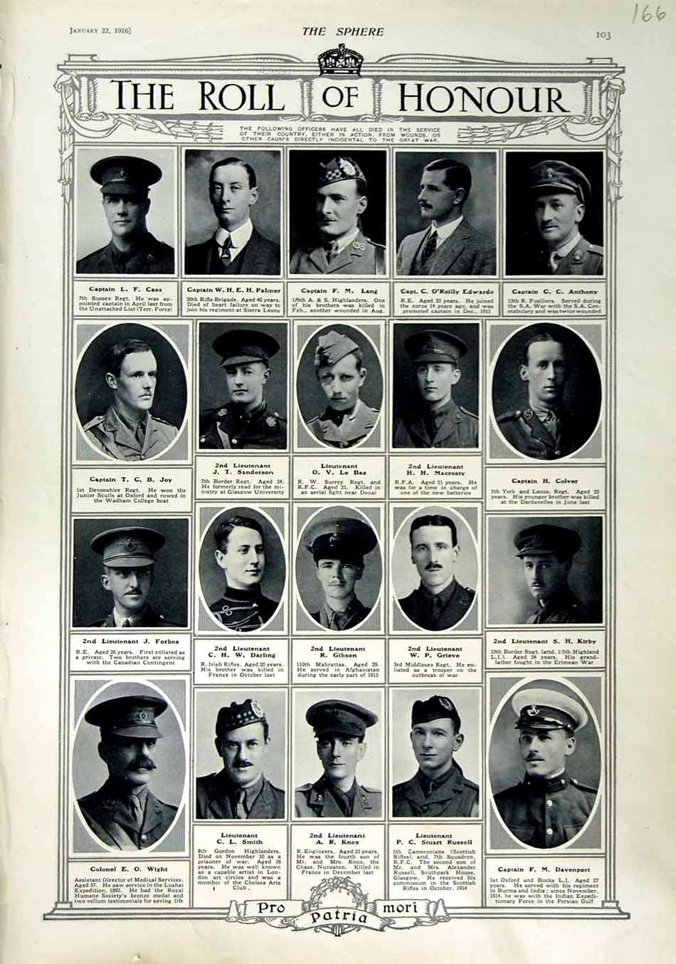 [Print 1916 Roll Honour Dead War Soldiers Gibson Knox Smith 166N802 Old Original]