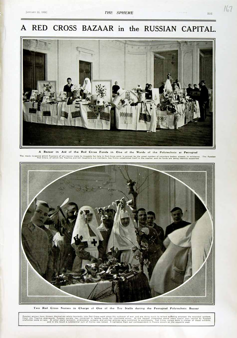 [Print 1916 Red Cross Bazaar Petrograd Polytechnic Nurses War 167N802 Old Original]
