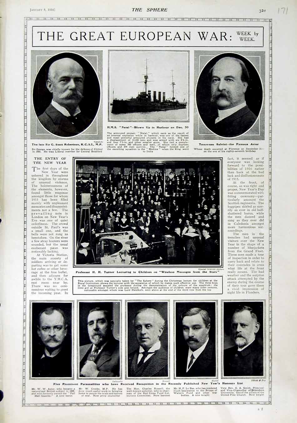 [Print 1916 Robertson Salvini Turner War New Year Honours List 171N802 Old Original]