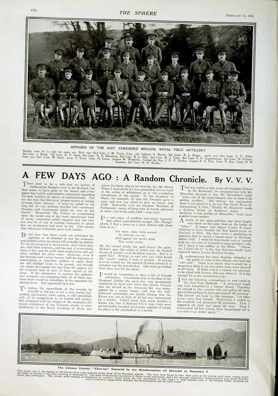 [Print 1916 Roll Honour Dead Soldiers War Yorkshire Chao-Ho 194Rn802 Old Original]
